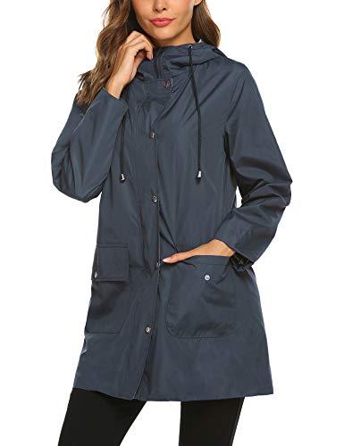 SUNAELIA Rain Jacket Women Waterproof with Stripe Liner Hood Lightweight Raincoat Outdoor Windbreaker Trench Coat S-XXL Navy Blue