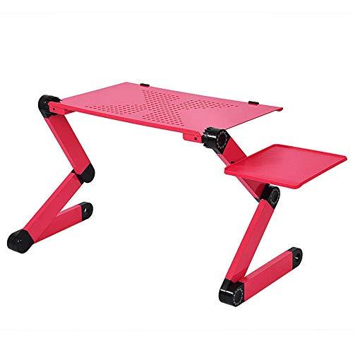 Ajustable de aluminio-escritorio-portátil-ergonómico-TV-cama-lapdesk-bandeja-PC mesa-soporte-Notebook-mesa (2) (rojo)