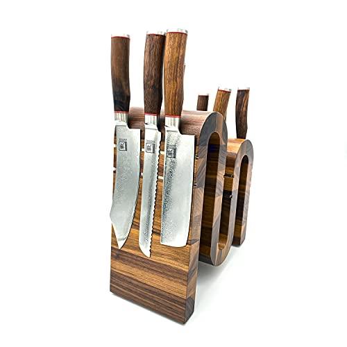 Zayiko exklusiver hochwertiger Design Messerblock Messerbrett ohne Messer für bis zu 14 Kochmesser unterschiedlicher Größe I Italienisches Design aus massivem Nussbaum mit starken Magneten