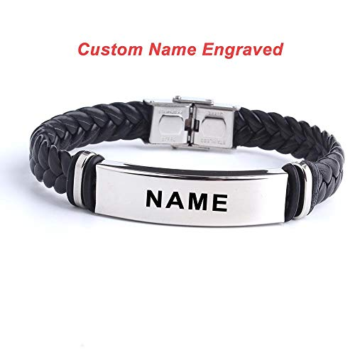 ASIG Fashion Custom logo Naam Graveren Lederen Bangle & Armband RVS Armbanden
