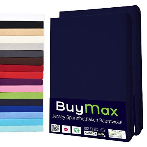 Buymax Basics 2er Set Spannbettlaken Kinderbett 60x120-70x140 cm 100{d4e8c0d68228a5d4ff36fc0223c67b3c2da97b907e4e784f0195bb006e7631d0} Baumwolle Spannbettuch Bettlaken, bis 25cm Matratzenhöhe, Marineblau