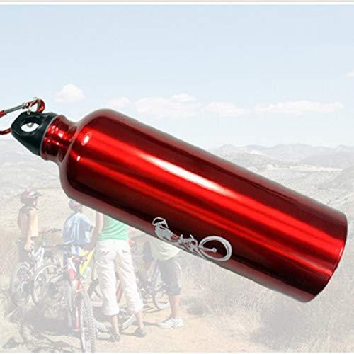 Monrodbitt Portable Durable 750ML Hervidor de Aluminio Bicicleta de montaña Ciclismo Botella de Bebida de Agua MTB Bicicleta Botella de Agua (Rojo)
