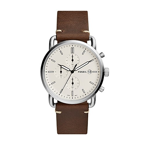 Fossil Men's Commuter Quartz Leather Chronograph Watch, Color: Silver, Brown (Model: FS5402)