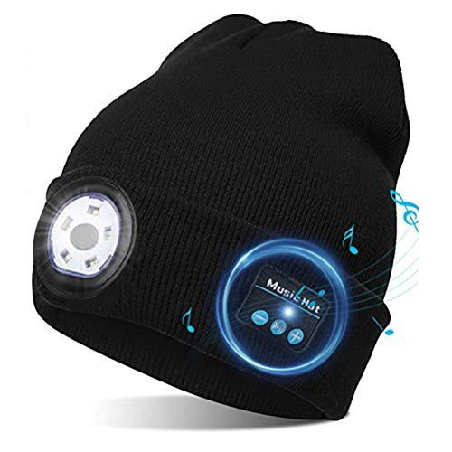 Gobbuy Bluetooth Mütze mit Licht Wireless Bluetooth 5.0 Beanie Musik Mütze für Laufen Sport Fitness Radfahren Ski Joggen Mützen für Damen und Herren