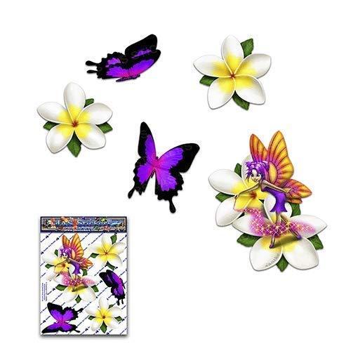 Fantasía de hadas frangipani flor blanco plumeria + mariposa pegatinas de coche...