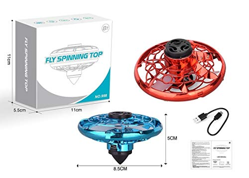 Black Mammoth FlyNova Mini Drone para niños Spinner Volador 360º con Luces LED, Boomerang Giratorio para Juegos al Aire Libre e Interior, Modo peonza Incluido. (Rojo)