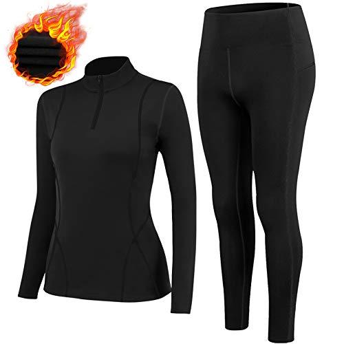 TBoonor Ropa interior térmica para mujer con cuello alto, resistente al viento, ropa interior...