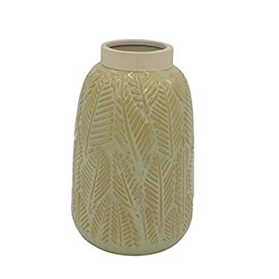 "Amazon Brand – Stone & Beam Mid-Century Rustic Vase, 8.66""H, Neutral"