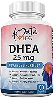 dhea 25mg Supplement Hormonal Balance for Women & Men Anti-Aging, Energy Boost, Mood Support, Brain Support- Dehydroepiandrosterone 25 mg Non-GMO 50 Capsules by Amate Life