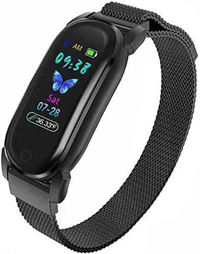 AMBM Reloj inteligente para mujer y hombre, con Bluetooth, frecuencia cardíaca, presión arterial, correa de acero negro