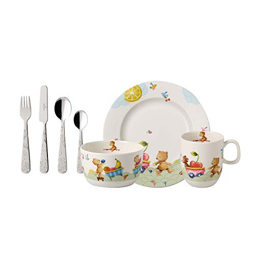 Villeroy & Boch Hungry as a Bear Vajilla infantil, 7 piezas, Porcelana Premium/Acero inoxidable, Blanco/Multicolor