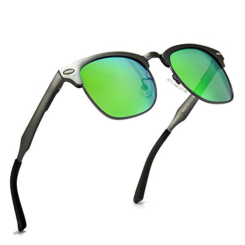 SUNGAIT Classic - Gafas de sol retro con lentes polarizadas, (Montura de metal verde lente), Talla única