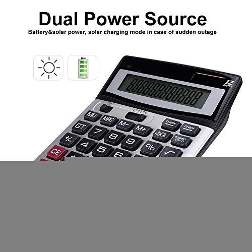 Diyeeni basisrekenmachine op zonne-energie, 14-cijferige solar batterij, dual-power-kantoorrekenmachine, rekenmachine met groot lcd-display en grote toetsen voor dagelijks en eenvoudig kantoor