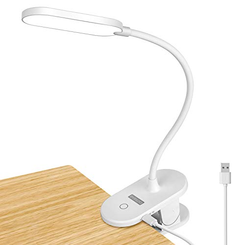 Evesala Rechargeable Book Light, Touch Control Adjustable Brightness Eye Protection Reading Light, LED Clip On Light for Reading in Bed, Desk Lamps for Kids, School (White)
