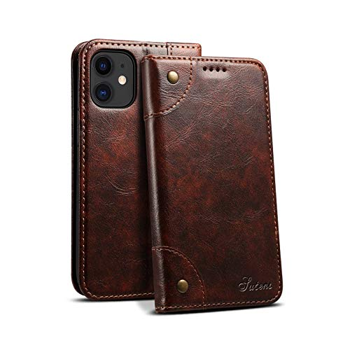 PU Leather Wallet Shell for Apple iPhone 12 Mini 2020 5.4 Durable Fashion Brown Retro Texture Soft Protective Shockproof Christimas Gift Kickstand Fold Cover for Boy Girl