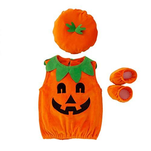 YWLINK Traje De Bebe Recien Nacido-Conjunto Sin Mangas De Halloween Devil Pumpkin Tops Camiseta Sudadera +Sombreros+Zapatos para NiñOs Mono De Mameluco-Traje De Bebe Bautizo(Naranja,2-3 años/110)