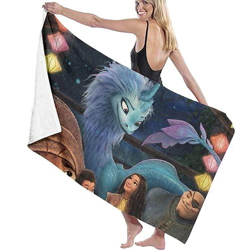 Toalla de playa Raya und Der Last Dragon, linda dibujos animados, supersuave, para playa, natación, baño, camping, multicolor (R4,70 × 140 cm)