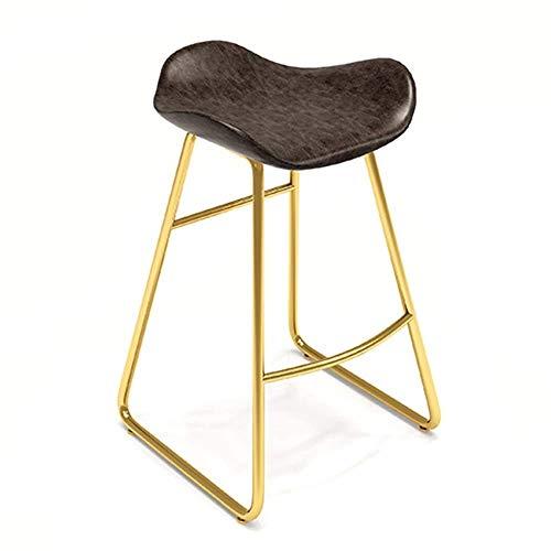 Slaapkamers Bar Kruk Bar meubilair bar stoel Gouden metalen poten Ergonomisch ontwerp Imitatie lederen kussen Hoge kruk Retro Stijl Lager gewicht 150kg Hoog 45/65/75cm (kleur : Bruin, Maat : 65CM) 65CM BRON
