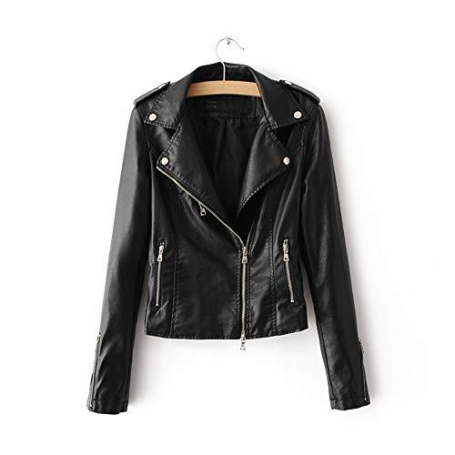 LJYH Women's Zipper Motorcycle Biker Faux Leather Jackets Black XL