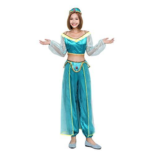 Disfraz Halloween Mujer Niña Adulto Plus Size Vestido De Danza del Vientre Sexy De La Princesa Bailarina Árabe,Verde,XL