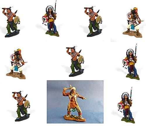 - Lot de 10 Figurines Indiens d'Amérique : Géronimo, Sitting Bull, Morning Star, Tecumseh en métal, 7cms (LI2)