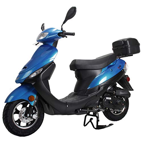 X-PRO Maui 50cc Moped Scooter Gas Moped Scooter Motorcycle 50cc Adult Scooter Aluminum Wheels with USB Charger Fully Assembled in Crate (Blue)