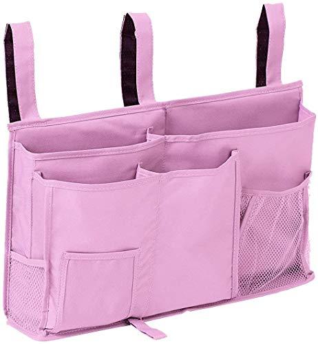 Censsa 0 bettbeutel bettspeicher für mit flaschenhalter hängen, organisator bett bettbeutel mit darhthaken hängenden tasche hochbett aufbewahrungstasche für magazine handy und kopfhörer trägt # D rosa