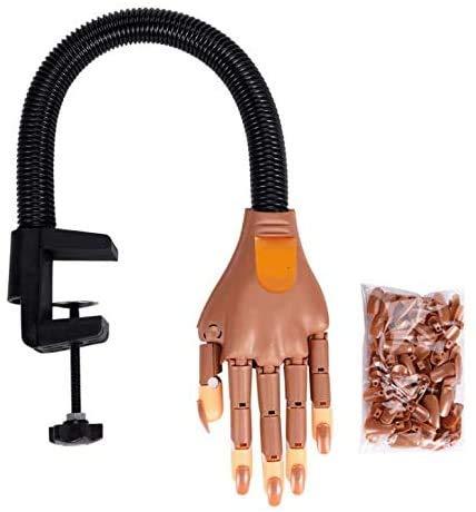 Nail Art Praxis Hand, Modell Praxis Hand + 200pcs Austauschbare falsche Nägel für Nail Art Starter Training/Nagelliebhaber/Selbstlernende Nail Art - Praktisches Maniküre-Modellwerkzeug