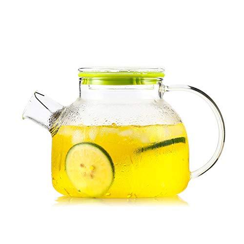Theepotten Glazen Theepot Glazen Theepot Ketel 1L Hittebestendig Glas Theepot Citroen Fruit sap Bloem Theepot met Glas Deksel Transparant Ijs Water Ketel Kantoor Thuis Drinkwaren A