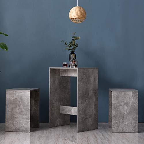 Cherry Tree Furniture NARVIK Grey Concrete Effect High Table & Stools Set, Bar Table Set