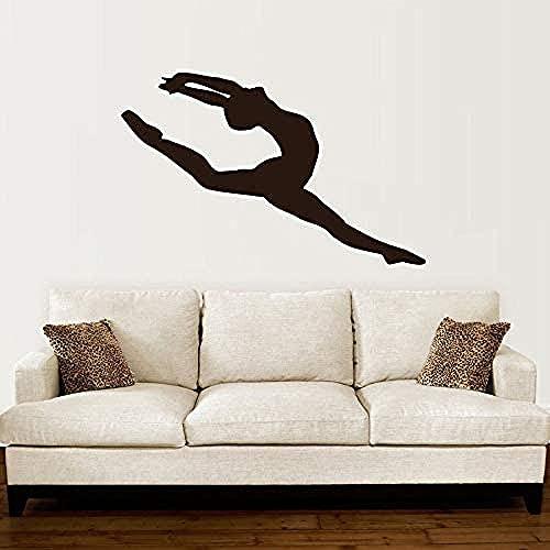 Adhesivo De Pared Creativo Mural Bailarina Vinilo Pegatinas De Pared Decoración Ballet Habilidades De Baile Gimnasia Rítmica Sala De Baile Para Niños Dormitorio Mural 89X57Cm