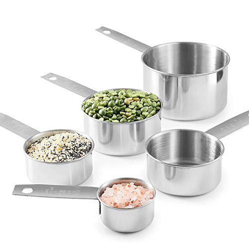 Measuring Cups Stainless Steel 5 Piece Set , Kitchen Aid Safe Reusable 304 Stainless Steel Heavy Duty Ergonomic Handle With Ring Connector for Dry & Liquid Ingredients
