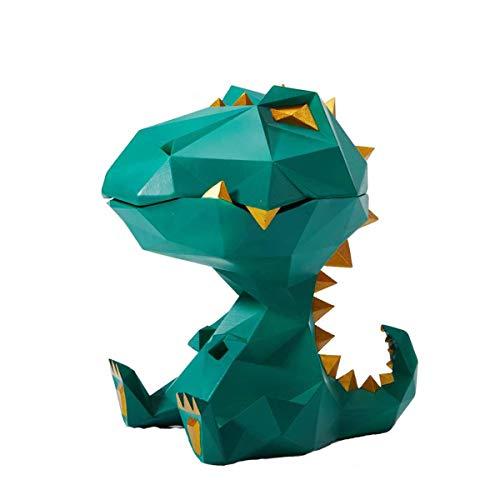 Keksdose Candy Dish Lagerung Easy Clean Kanister Geometrische Dinosaurier Statue Skulptur Dekor für Geschenke Souvenirs Geschenkbox,Grün