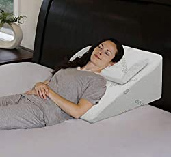 best  for reading in bed Memory foam wedge in 3 different inclinations for back support while sitting up or lying down.