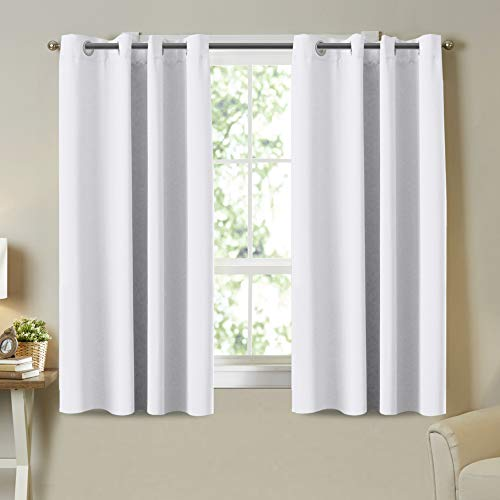 """Pure White Curtains Room Darkening Curtain Panels, 50% Blackout Curtains for Bedroom, Easy Care Solid Thermal Insulated Grommet Room Darkening Draperies, 52"""" W x 63"""" L, 2 Panel"""
