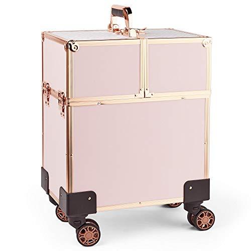 Beautify Valise pour Cosmétiques en Or Rose : Mallette de Voyage - Boîte Vanity-Case - Valise à Bagages - Organiseur de Rangement - Coiffeur/Coiffeuse, Maquilleur/Maquilleuse, Manucure