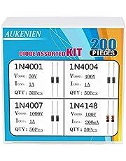 AUKENIEN 4 Valor 200 Piezas Kit Surtido de Diodos Diodo de Conmutación 1N4148 IN4148 Diodo Rectificador 1N4001 IN4001 1N4004 IN4004 1N4007 IN4007