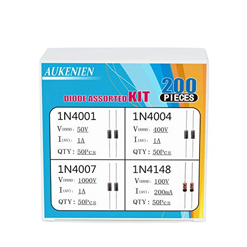 AUKENIEN 4 Values 200pcs Diode Assortment Kit Including Switching Diode 1N4148 IN4148 Rectifier Diode 1N4001 IN4001 1N4004 IN4004 1N4007 IN4007