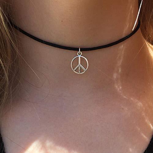 TseenYi Peace Choker Halskette Boho Kurze Lederhalskette Schmuck Skinny Kette Hippie Halsketten Schmuck für Frauen und Mädchen