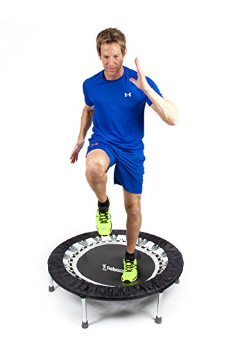 Maximus Pro USA Home Gym Rebounder Mini Trampoline with Handle Bar | Includes 2 x Awesome Rebound DVD's 7 Workouts | Adults Indoors | Max 150kg | Exercise Fitness Trampoline | Already Assembled