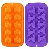 Olywee - Stampo per cioccolatini di Halloween, 2 pezzi, 10 cavità, in silicone, forma di zucca, per feste di Halloween