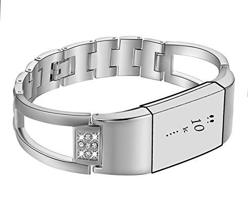 Gocybei Ersatzarmband für Fitbit Charge 2 Fitnesstracker, hochwertiges Armbandzubehör, ohne Tracker, B01-Silver