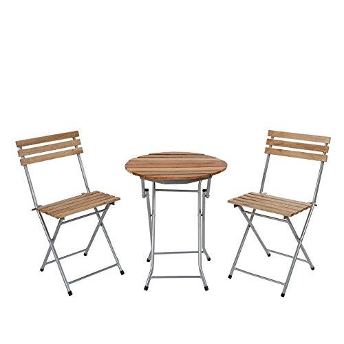 LD Biergarten-Garnitur Garmisch, Bistro-Set Garten-Set Tisch+Stühle, geölt