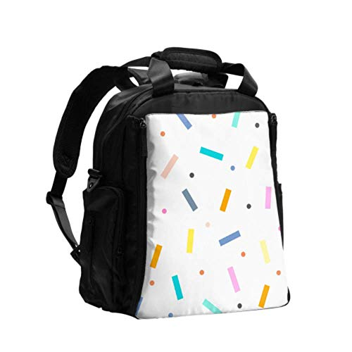 Women Backpack Diaper Bag Cute Colorful Confetti Sprinkles Nappy Changing Bag Portable Multifunction Travel Backpack with Diaper Changing Pad for Baby Care