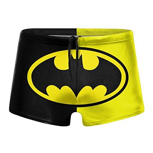 RTROALI Batman-Badehose für Herren, Superhelden-Badehose, Strand-Short - Weiß - Large