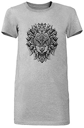 Florido LeónLargo Camiseta Vestir Mujer Gris Women's Long tee Dress Grey