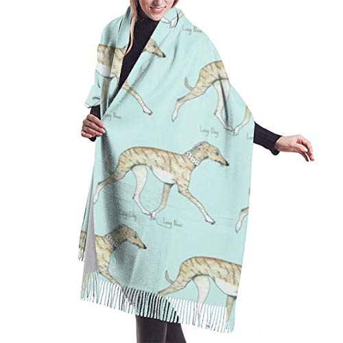 Damen Herbst Winter Schal Whippet Walking mit langer Nase Brindle Klassischer Schal Warm Weich Groß Decke Wrap Schal