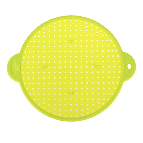 Naliovker 3 In 1 Kitchen Splatter Screen Silicone Oil Splatter Guard Guard Heat Insulation Cooling Mat For Frying Pan Screen Strainer Green