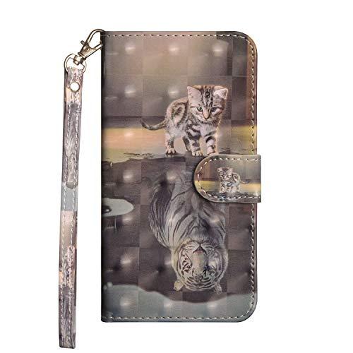 Veapero Kompatibel für Hülle Sony Xperia L4 Handyhülle PU Leder Hülle Wallet Tasche Soft TPU Schutzhülle Schale Ständer Kartenfach Magnetverschluss Brieftasche,Katze im Spiegel