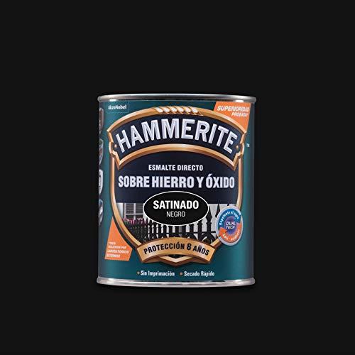 Hammerite Esmalte directo sobre hierro y óxido Satinado Negro 250 ml